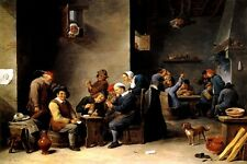 INTERIOR OF A CABARET MEN DRINK CARD GAME 1645 PAINTING BY DAVID TENIERS REPRO