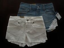NWT Ralph Lauren Girls Vintage Denim Lace Cut Off Shorts 7 8 10 12 14 16 NEW $35