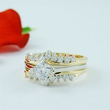 1 CARAT ROUND GOLD EP WEDDING ENGAGEMENT RING SET SIZE 5 6 7 8 9 10