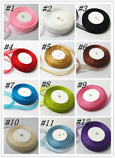 "50 Yards 3/4""20mm Beautiful Organza Ribbon Party Wedding Decoration 12 colors C"