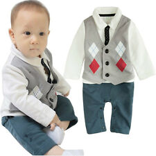 Kid Boy Baby Romper 0-18M Jumpsuit Tuxedo Baby Long Sleeve One-Piece Outfit Set
