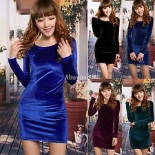 New Sexy Ladies Womens Women Velvet Velour Midi Pencil Bodycon Mini Dress Top