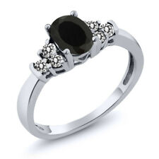 0.59 Ct Oval Black Onyx White Diamond 18K White Gold Ring