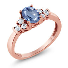 0.79 Ct Oval Blue Sapphire White Topaz 925 Rose Gold Plated Silver Ring