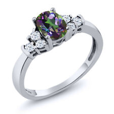 0.79 Ct Oval Green Mystic Topaz White Topaz 925 Sterling Silver Ring