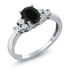 0.63 Ct Oval Black Onyx White Topaz 925 Sterling Silver Ring