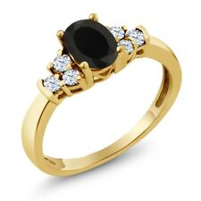 0.63 Ct Oval Black Onyx White Topaz 18K Yellow Gold Ring