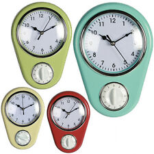 KITCHEN WALL CLOCK WITH TIMER HOME OFFICE RETRO HANGING AND COOKING QUARTZ NEW