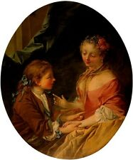 CHILDREN HAND GAME PIED DE BOUEUF BOY GIRL 1733 FRENCH PAINTING BY BOUCHER REPRO