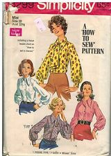 8299 Vintage Simplicity Sewing Pattern Misses How to Sew Blouse Ascot OOP SEW