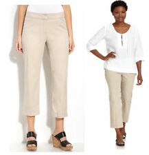 $168 Eileen Fisher Khaki Cotton Tencel Twill Straight Cropped Trouser Pants