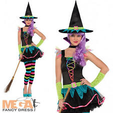 Teen Neon Witch + Hat Age 10-16 Halloween Fancy Dress Girls Kids Witches Costume