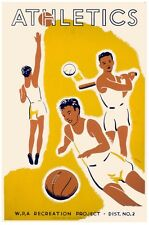 6889.Athletics.men playing basketball.baseball.volley ball.POSTER.art wall decor