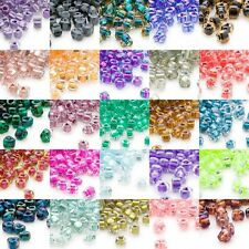 100 Glass Miyuki 4mm x 3mm Two Tone Color Lined 5/0 Triangle Shaped Seed Beads