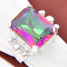 New Arrival Rainbow Fire Mystical Topaz Gemstone Silver Ring As Christmas Gift