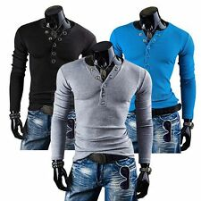 NEW Mens Slim Fit Casual Cotton Long Sleeve T-shirt Muscle Tee Henley Shirt Tops