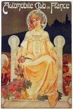 6958.Automobile club de france.woman in flowered dress.POSTER.art wall decor