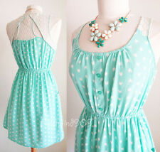 NEW Mint Green Ivory Lace Cutout Back Arrow Pattern Buttons Pockets CUTE Dress