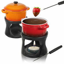 Ceramic Chocolate or Cheese Fondue Set with 2 Stainless Steel Forks Kitchen Home