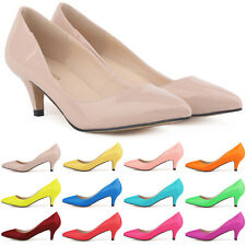 Womens PU Patent Leather Low Mid Kitten 5CM Heels Shoes Size US4 5 6 7 8 9 10 11