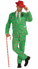 Candy Cane Adult Costume Adult Suit Jacket Pants Tie Green Red Christmas Parties