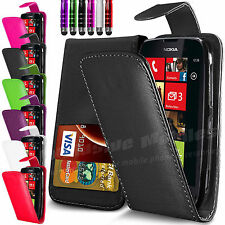 LEATHER FLIP CASE COVER & SCREEN PROTECTOR + STYLUS FITS NOKIA LUMIA 610