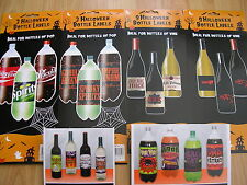 halloween/party/xmas wine and pop bottle stick on labels