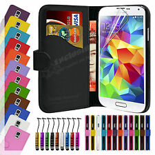 Book Flip Leather Wallet Case Cover For SAMSUNG Galaxy S5 Screen Protector