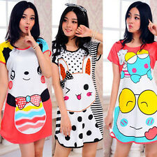 Fashion Sexy Women Cartoon Cotton Night Skirt Pajamas Sleeping Dress USA Seller