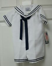 NWT Boys 1 pc white Sailor Suit with blue trim and tie ww/ matching Hat