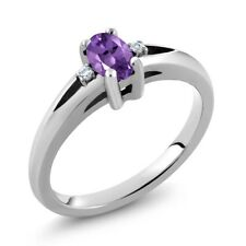 0.48 Ct Oval Natural Purple Amethyst 925 Sterling Silver Ring