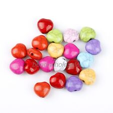 50 PCS Stylish Multi-color Heart Cracks Turquoise Loose Spacer Beads For DIY
