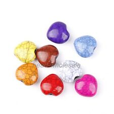 Stylish Multi-color Heart Cracks Turquoise Loose Spacer Beads 20 pcs