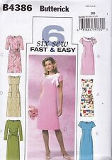 Butterick Sewing Pattern Misses' 6 Fast Easy Dress Sizes 8 -22 B4386 HALF PRICE
