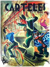 7107.Carteles.Boy riding bike taunts train attendant upset.POSTER.art wall decor