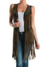 NEW T-PARTY EMBELLISHED FRINGED VEST TOP CARDIGAN, Made in USA BLACK, or BROWN