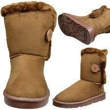 Women's Button Closure Pull On Fur Trim Comfort Winter Ankle Boots Tan