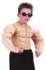 Child Muscle Shirt Halloween Hero Boxer Wrestler 6 Pack Kids Fighter Costume Top