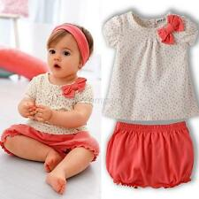 Infant Baby Girl Polka Dots T-shirt Tops+Short 2Pcs Set Outfits Bow Costume 1-3Y