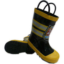 Koala Kids Boys Black/Yellow Firefighter Rain Boots