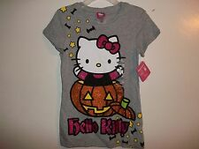 Girls Hello Kitty Halloween Top T-Shirt Graphic Choose Size Gray