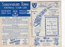 Shrewsbury Town HOME programmes 1960/61 to 1964/65 FREE P&P UK Choose from list