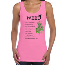 Womens Funny Sayings Slogans Tank Top Vests-Smoke Weed Instructions Vest