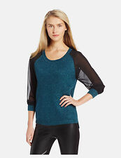 FRENCH CONNECTION Solar Star Knitted Jumper Sweater Top - Jewel Green/Black $128