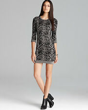 FRENCH CONNECTION Bambi Snow Tiger Animal Print Sweater Dress - Black/Gold $138