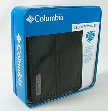 Mens COLUMBIA Leather Bifold Security Wallet BLACK or BROWN with RFID Shield NEW