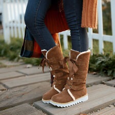 New Womens faux suede lace up warm Thicken Mid-Calf Snow Boots shoes plus size