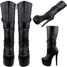 Women's Faux Leather Strappy Buckles Platform Stiletto Mid Calf Boots Black