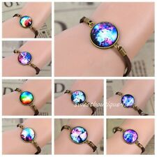 Fashion Women's Universe Galaxy Image Round Glass Cabochon Bracelets Bangle Gift