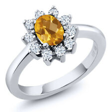 1.00 Ct Oval Checkerboard Yellow Citrine 925 Sterling Silver Ring